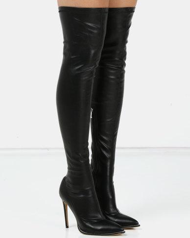 Public Desire Moody Stretch PU Boots Black