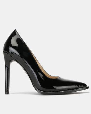Public Desire Badgal Heels Black Patent