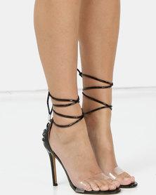 Public Desire Bare Heels Black Patent Faux Croc