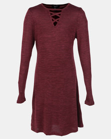 New Look Lattice C&S Long Sleeve Swing Top Dark Burgundy