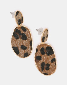 Black Lemon Wilma Cheetah Drop Earrings Brown