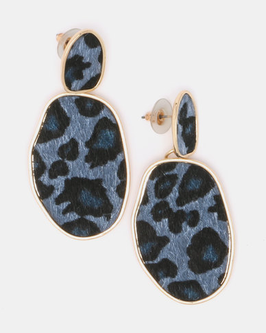 Black Lemon Wilma Cheetah Drop Earrings Blue