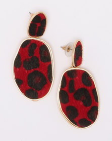 Black Lemon Wilma Cheetah Drop Earrings Red