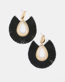 Black Lemon All Fanned Out Drop Earrings Black
