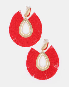 Black Lemon All Fanned Out Drop Earrings Red
