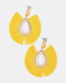 Black Lemon All Fanned Out Drop Earrings Yellow