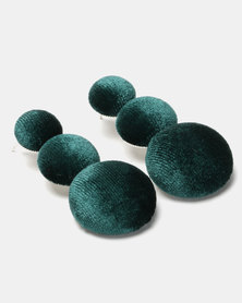 Black Lemon Button Up Drop Earrings Green