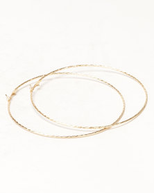 Black Lemon Large Hoop Earrings Gold-Toned
