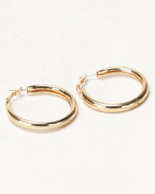 Black Lemon Chunky Hoop Earrings Gold-Toned
