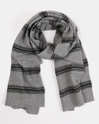 Black Lemon Large Stripe  Blanket Scarf Grey