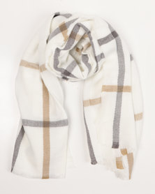 Black Lemon Large Stripe Blanket Scarf Nude