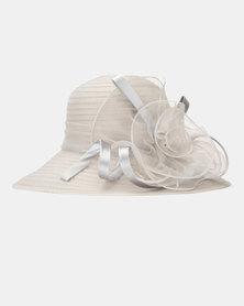 Queenspark Big Flower Detail Hat Silver