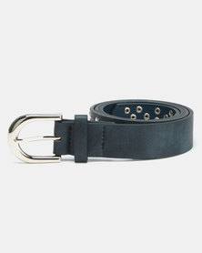 Queenspark Multi Stud Belt With Curved Circle Navy