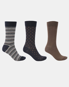 JCrew Multi Design 3 Pack Socks Taupe/Navy