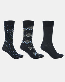 JCrew Argyle/Diamond 3 Pack Socks Navy