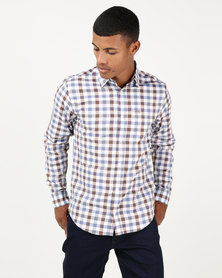 JCrew Herringbone Check Shirt Grey & Blue