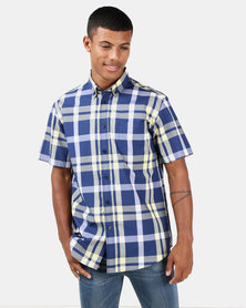 JCrew Check Shirt Navy & Yellow