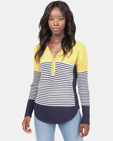 Miss Cassidy By Queenspark Zip Up Stripe Knitwear Top Yellow