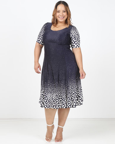 Queenspark Plus Ombre Spot Printed Knit Dress Navy