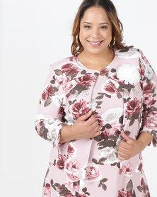 Queenspark Plus Floral Printed Knit Jacket Pink