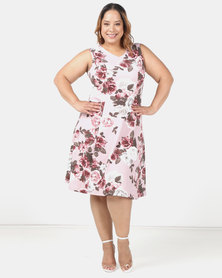 Queenspark Plus Printed Floral Fit & Flare Knit Dress Pink