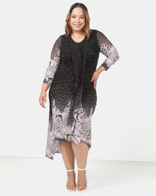 Queenspark Plus Layered Printed Mesh Glamour Knit Dress Black