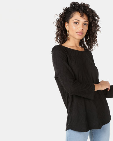 Queenspark Ripple Design Lace Inset Core Knit Top Black