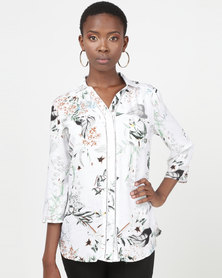 Queenspark Muted Floral Woven Shirt White