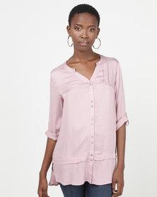 Queenspark Spaced Button Longer Length Woven Shirt Pink