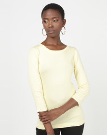 Queenspark Mother Of Pearl Button Trim Core Jersey Yellow