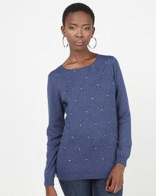 Queenspark Diamond Design Melange Core Jersey Dark Blue