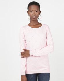Queenspark Diamond Design Melange Core Jersey Pink