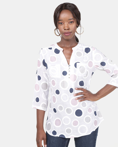 Queenspark Pastel Double Circle Ghost Woven Shirt Pink