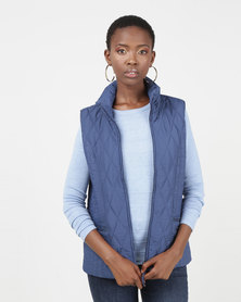 Queenspark Ladies Woven Quilted Zip Through Sleeveless Gilet Blue
