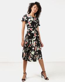 Queenspark Liquorice Blossom Short Sleeve Knit Dress Black