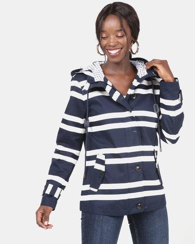 Queenspark Stripe Cotton Hooded Parka Jacket Navy