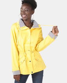 Queenspark Pocket Detail Woven Parka Jacket Yellow