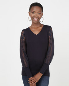Queenspark Pretty Sheer Lace Sleeve V-neck Knitwear Navy