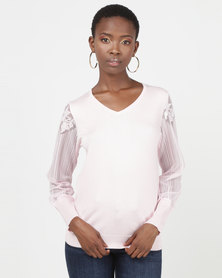 Queenspark Pretty Sheer Lace Sleeve V-neck Knitwear Pink