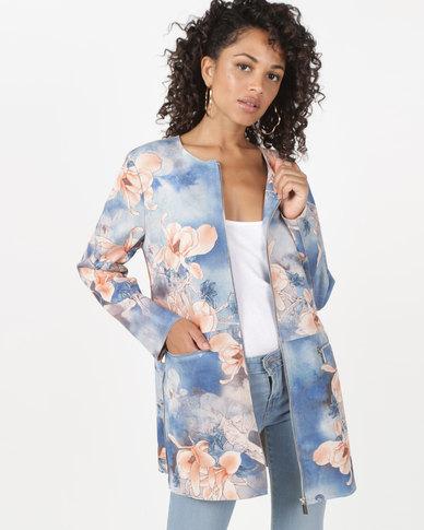Queenspark Blossom Suedette Jacket Blue