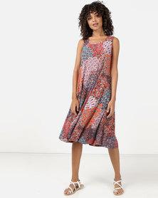 Queenspark Peacock Design Sleeveless Knit Dress Multi