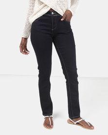 Queenspark Core Programme Iron On Pocket Detail Woven Denim Jeans Indigo