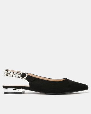 Queenspark Low Heel Diamante Slingback Evening Shoes Black