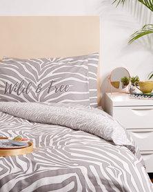 New Look Zebra Double Bedding Grey