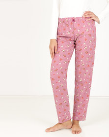 Poppy Divine Rayon Floral Long Pants Rose
