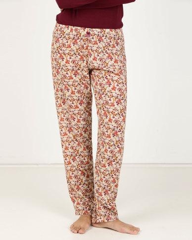 Poppy Divine Rayon Floral Long Pants Multi
