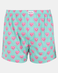 Happy Socks Smiley Heart Boxers Green/Pink