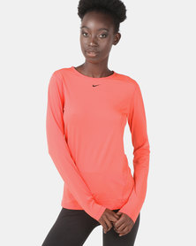 Nike Performance W NP L/S All Over Mesh Top Ember Top Multi