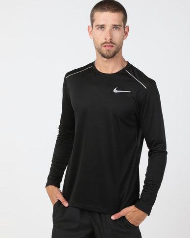 Nike Performance M NK Dry Miler Top Long Sleeve Running Top Black