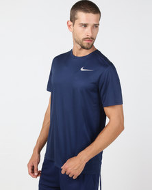 Nike Performance DF Short Sleeve Breathe Running Top Blue Void